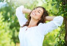 Beautiful Young Woman Outdoor. Enjoy Nature Stock Photos