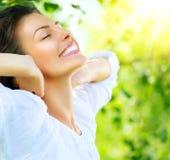 Beautiful Young Woman Outdoor. Enjoy Nature Stock Images
