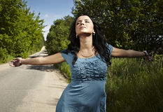 Beautiful young woman outdoors. Photo Royalty Free Stock Photo