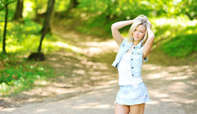Beautiful young woman outdoors. Image with copyspace stock images