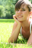 Beautiful young woman outdoors Stock Images