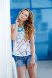 Beautiful young woman outdoors in the city Royalty Free Stock Image