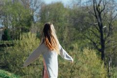 Beautiful Young Woman Outdoors. Enjoy Nature royalty free stock images