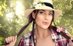 Beautiful Young Woman Outdoors Enjoying in the Nature Royalty Free Stock Image