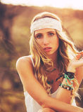 Beautiful Young Woman Outdoors. Soft warm vintage color Royalty Free Stock Image