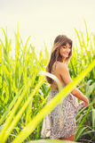 Beautiful Young Woman Outdoors in Sun Dress Royalty Free Stock Photos