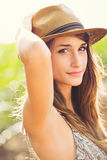 Beautiful Young Woman Outdoors in Sun Dress Stock Photography