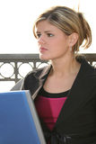 Beautiful Young Woman Outside With Computer royalty free stock photos
