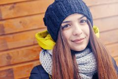 Beautiful young woman in winter Royalty Free Stock Photos