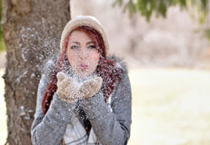 Beautiful young woman outside in winter Stock Images
