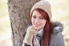 Beautiful young woman outside in winter Royalty Free Stock Photo