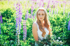 Beautiful young woman over blooming lupines Stock Photo