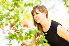 Beautiful young woman over white blossom tree, outdoors portrait.  Royalty Free Stock Photo