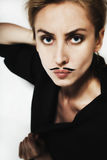 Beautiful young woman with  painted mustache Royalty Free Stock Image