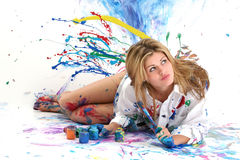 Beautiful Young Woman Painting Royalty Free Stock Image