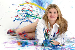 Beautiful Young Woman Painting Stock Photos