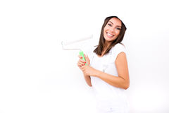 Beautiful young woman painting a Apartment Royalty Free Stock Photo