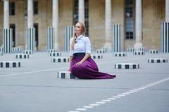Beautiful young woman in Palais Royal Royalty Free Stock Images