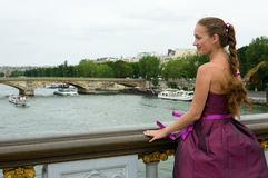 Beautiful young woman in Paris Royalty Free Stock Photo