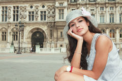 Beautiful Young Woman in Paris Royalty Free Stock Images