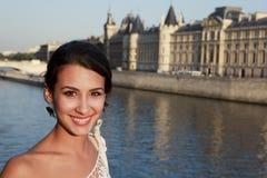 Beautiful young woman on a Paris Bridge Stock Photography