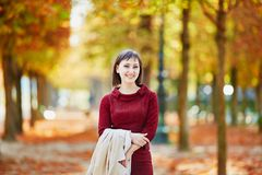 Woman in Paris on a bright fall day Royalty Free Stock Photos