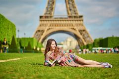 Beautiful young woman in Paris Stock Photos