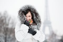 Beautiful young woman in Paris on a winter day Stock Images
