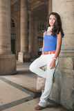 Beautiful Young Woman in a Parisian Plaza Stock Images