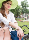 Beautiful young woman in park Royalty Free Stock Images