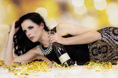 Beautiful young woman partying with champagne Royalty Free Stock Photo