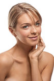 Beautiful young woman with perfect skin stock photography