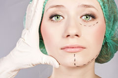 Beautiful young woman with perforation lines Stock Photography