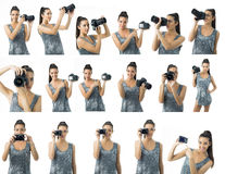 Beautiful young woman photographer multiple possibilities for composing Royalty Free Stock Image
