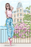 Beautiful young woman with picturesque landscape background. Hand drawn fashion woman with castle and flowers on background. Stock Photography
