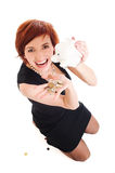 Beautiful young woman with piggy bank Royalty Free Stock Image