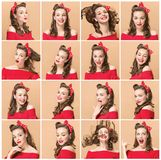 Beautiful young woman with pinup make-up and hairstyle. Studio shot on white background royalty free stock photos