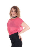 Beautiful young woman in pink blouse. Stock Photography