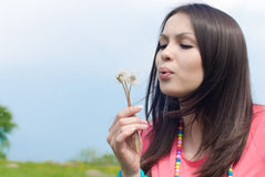 Beautiful young woman in pink blowing flower Royalty Free Stock Photography