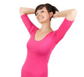 Beautiful young woman in pink dress Royalty Free Stock Image