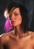 beautiful young woman with pink hair Stock Photo