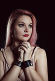 Beautiful young woman with pink hair Royalty Free Stock Photo