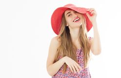 Beautiful young woman in pink hat - summer fashion beauty blonde girl stock images