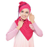 Beautiful young woman with a pink hijab Royalty Free Stock Images