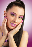Woman with pink make-up. Beautiful young woman with pink make-up Royalty Free Stock Photos