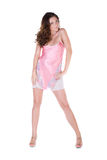 Beautiful young woman in pink nightgown Royalty Free Stock Photography