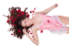 Beautiful young woman in pink nightgown Royalty Free Stock Photo