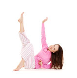 Beautiful young woman in pink pyjamas Stock Photo
