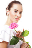 beautiful  young woman with pink rose Royalty Free Stock Image