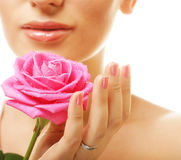 beautiful  young woman with pink rose Stock Images